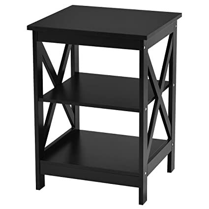 Nightstand End Table Storage Display 3 Tier Shelf Living Room Furniture  BLACK With Ebook