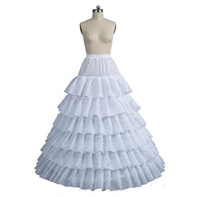 White 6 Layer Cascading Ruffles 6 Hoops Petticoat Puffy Ball Gown Wedding Crinoline Underskirt for Womens