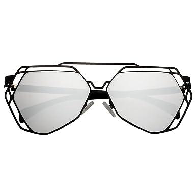 2215b17adb56 VIVIENFANG Colored Mirror Flat Lens Hexagonal Shades Hollow Out Polygon  Oversized Sunglasses 86857A Black