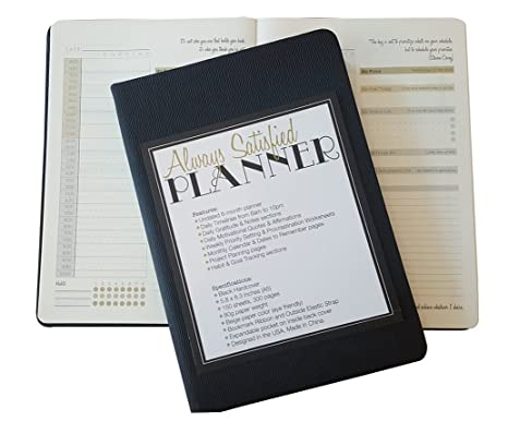 Always Satisfied A5 Daily Planner - 6 Months Undated Planner - 300 Pages Agenda Planner with Pocket, Ribbon and Elastic Strap - Black