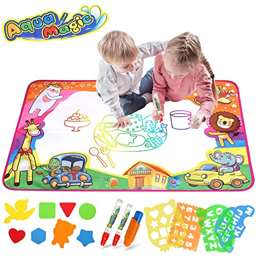 Bigear Aqua Magic Mat, Kids Toys Large Water Drawing Mat Toddlers Painting Board Writing Mats in 6 Colors with 2 Magic Pens and 1 Brush for Boys Girls Educational Gift (Drawing Mats)