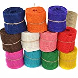 Coxeer 12 Roll 2.19Yd Burlap Ribbon Natural Ribbon DIY Handmade Colorful Hessian Ribbon for Crafting Wedding Decoration
