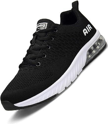 Mishansha Zapatillas de correr para hombre y mujer, amortiguación, antideslizantes, transpirables, ligeras, zapatillas de deporte, talla 36 – 46, color Negro, talla 43 EU: Amazon.es: Zapatos y complementos