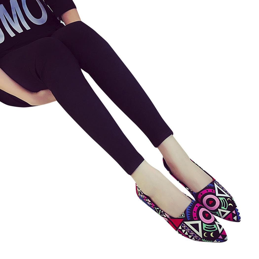 feiXIANG Damen Schuhe all seasons boho gedruckt urlaub Party Pointed Toe Freizeit flach Schuhe36|Multicolor