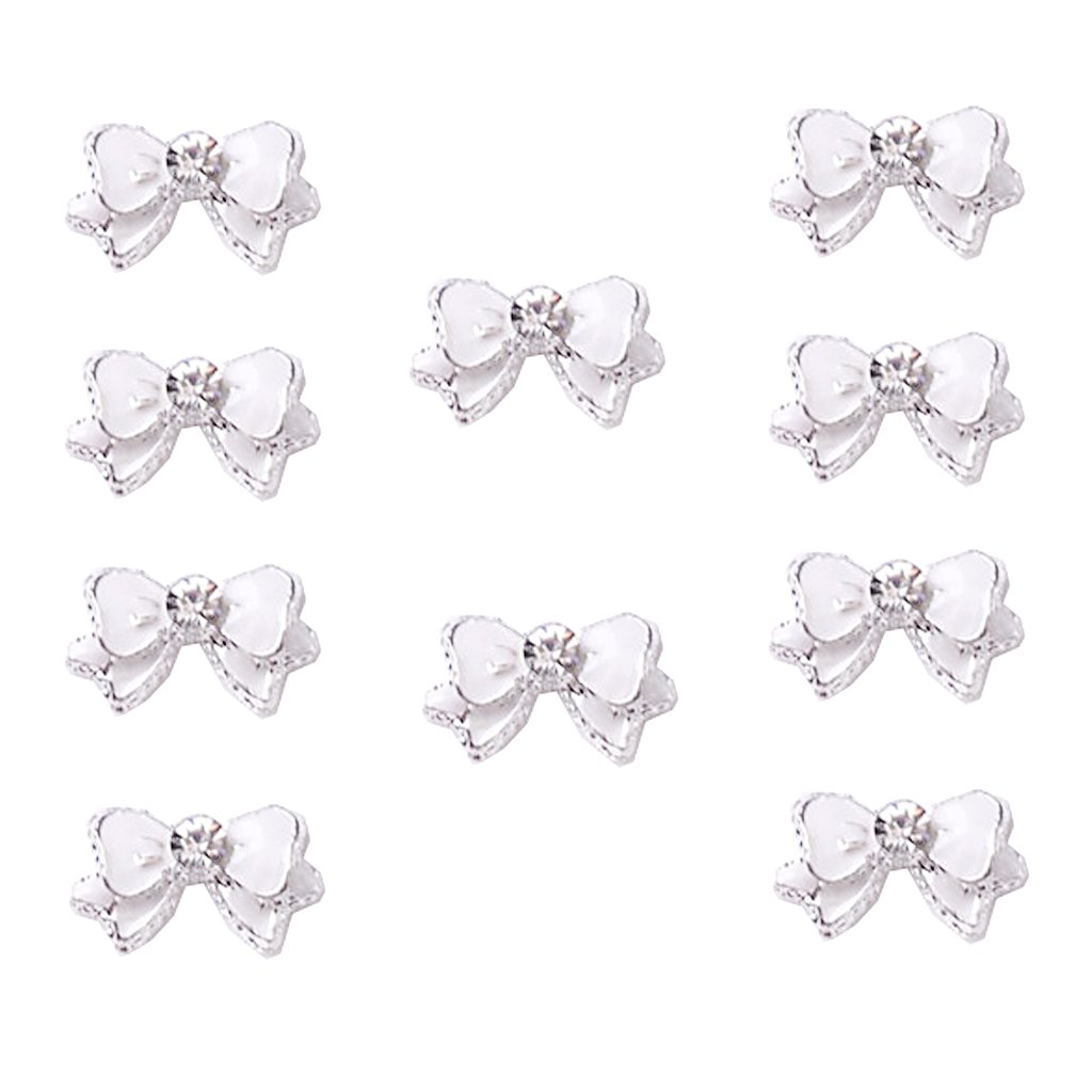 10Pcs White Cute Ribbon Bowknot Bling Rhinestone Nail Art Accessories Cellphone Decoration Generic