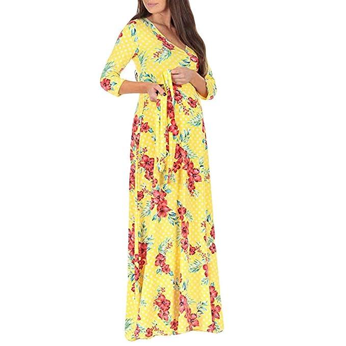 Lenfesh_Vestidos Vestido de Maternidad, Maternidad Lactancia Floral EstampadoVestido Mujeres Embarazadas Otoño Invierno Vestido de Manga Larga Mujer: ...