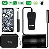 WiFi Inspection Camera,ROTEK Semi-rigid Wireless Endoscope,2.0 Megapixels 1080P HD Borescope,IP68 Waterproof Tube Snake Camera with 8 LED Lights for IOS Android Smartphone,Tablet - 5 Meter