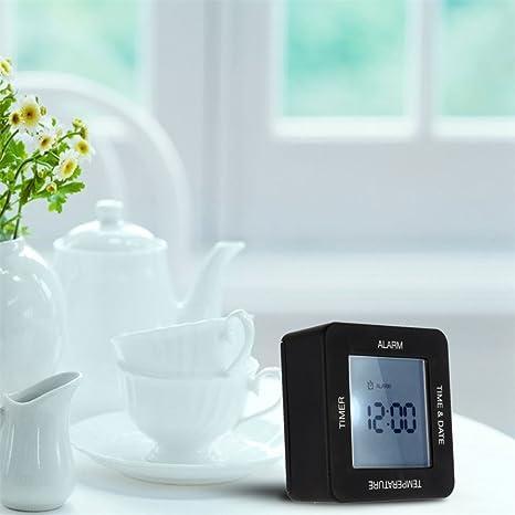 Cunclock Reloj despertador digital moderno multifuncional con retroiluminación Large-Screen Desk Home tabla girando el