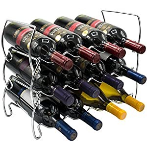 Sorbus 3-Tier Stackable Wine Rack – Classic Style Wine Racks for Bottles – Perfect for Bar, Wine Cellar, Basement, Cabinet, Pantry, etc – Hold 12 Bottles, Metal