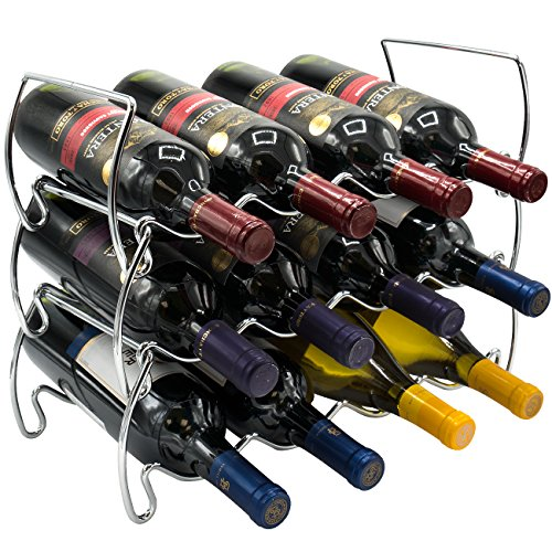 (Sorbus 3-Tier Stackable Wine Rack - Classic Style Wine Racks for Bottles - Perfect for Bar, Wine Cellar, Basement, Cabinet, Pantry, etc - Hold 12 Bottles, Metal (Silver))