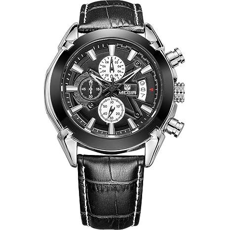 North King Reloj de Cuarzo Relojes Fecha Pantalla Hombres Tres diales Luminosos Relojes Resistente al Agua