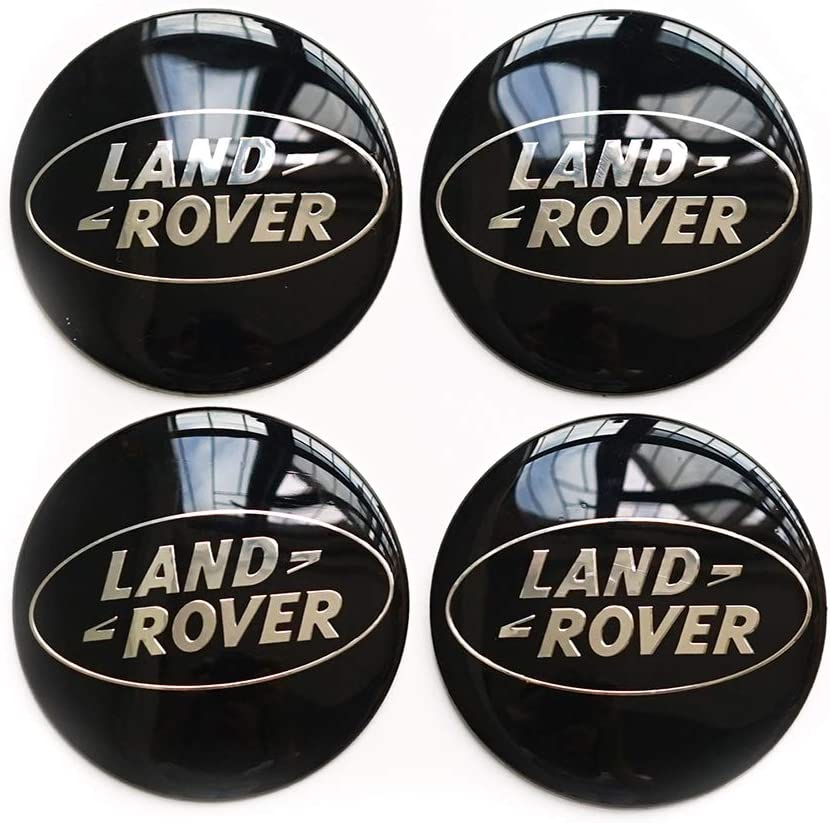 Bettway 4Pcs/Set 56.5mm 2.2'' Auto Car Sticker Wheel Center Hub Cap Logo Aluminium fit for Land Rover Range Rover Discovery (56mm/2.22inch, Black)