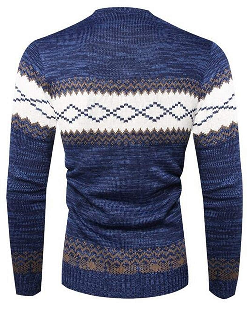 Suncolor8 Mens Knitted Contrast Round Neck Printing Pullover Sweaters Jumper