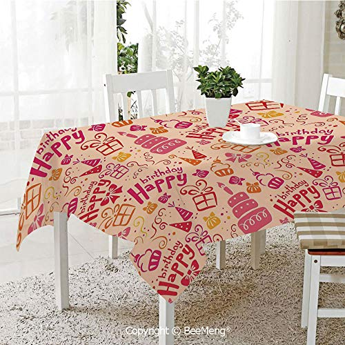 (BeeMeng Large Family Picnic Tablecloth,Easy to Carry Outdoors,Birthday Decorations for Kids,Present Party Themed Cakes Cone Hats Swirls Art,Pink Orange and Hot Pink,59 x 104)
