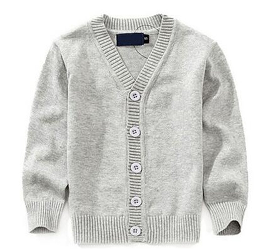 Winyersnow Sweaters Candy-Colored Baby Boys Girls Single-Breasted Jacket Outer Wear Gray 6