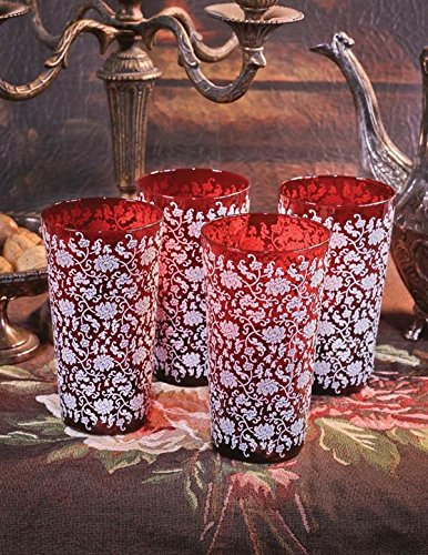 Victorian Trading Co. Ruby & Lace Drinking Glasses Tumblers (Set Of 4) VTC