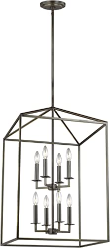 Sea Gull Lighting 5115008-782 Perryton Transitional Large Eight Light Pendant Hall Foyer Hanging Modern Fixture, Heirloom Bronze Finish
