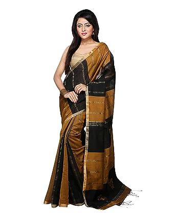 d604ef241e Bengal Handloom Saree Women's Silk Cotton With Blouse Piece (0_Black ...