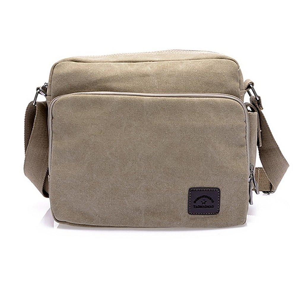Dnasrivew Casual Mens Canvas Work Business Briefcase Crossbody Messenger Shoulder Bag Khaki