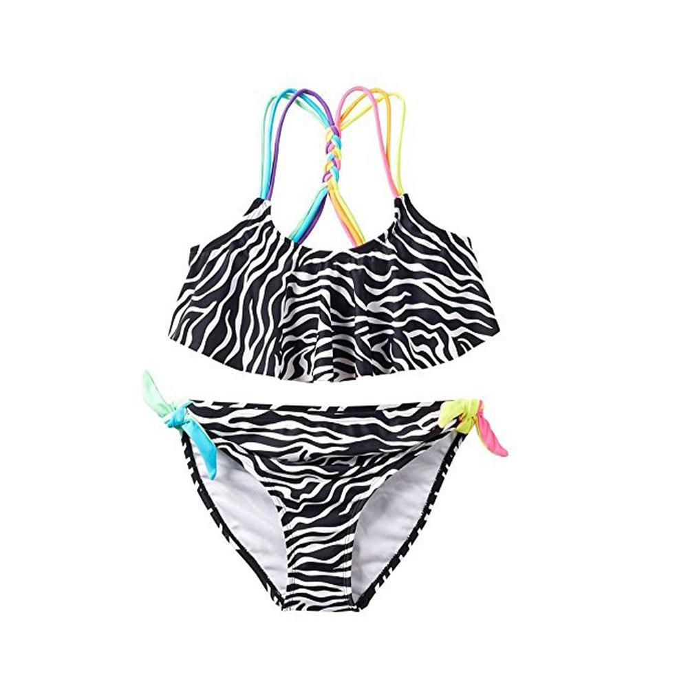 Girls SO Zebra Print 2-pc Racerback Bikini Swimsuit Set