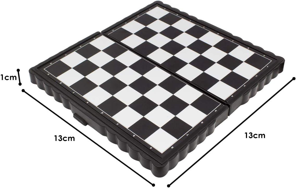 JJPRIME - 4 Juegos de Mesa de Viajes clásicos, Divertidos y Divertidos - Damas y escaleras Ajedrez Ludo Mini Juego de Dados magnéticos Juego de Cajas Plegables: Amazon.es: Juguetes y juegos