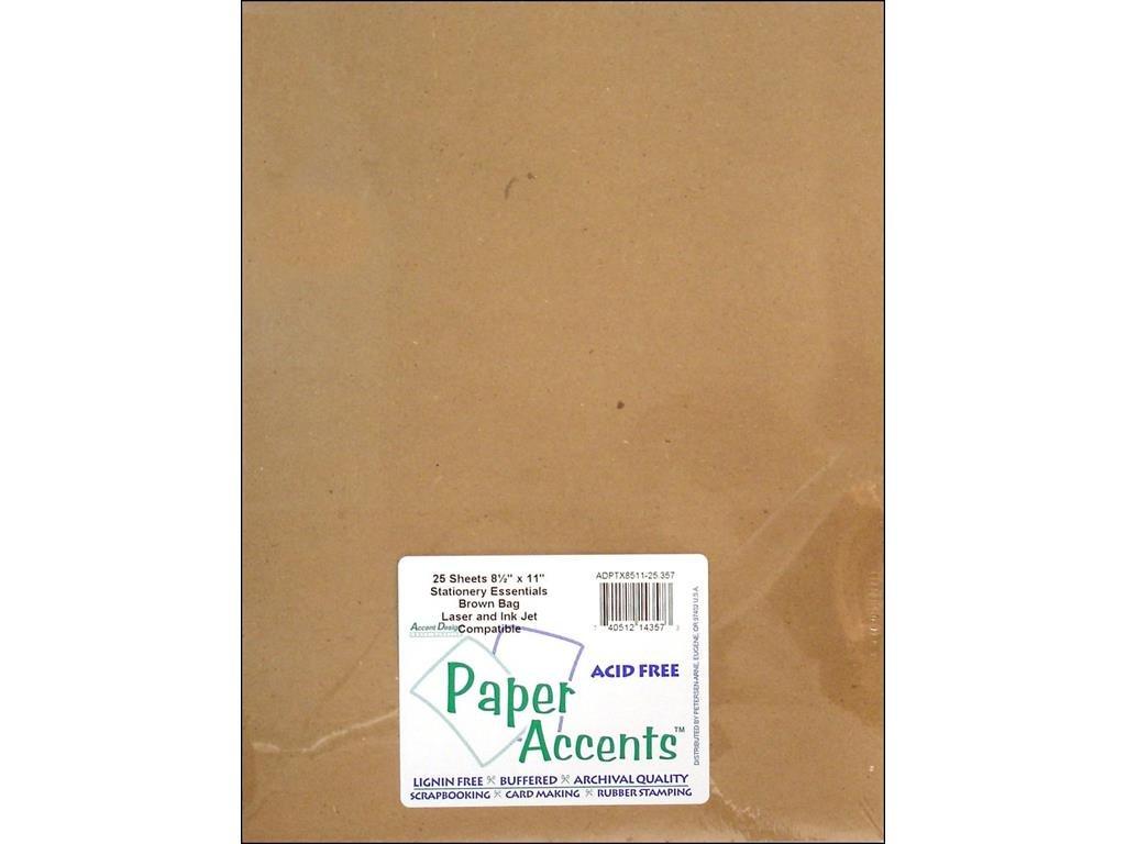 Accent Design Paper Accents ADPTX8511-25.357 Lite Stock 8.5x11 Rec Brown Bag Cardstock