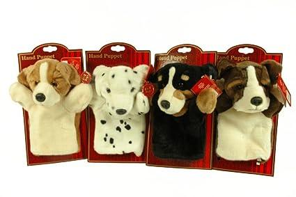 CAPRILO Lote de 4 Marionetas Peluches Infantiles Decorativas Perros Multicolores. Juguetes Infantiles. Muñecos para