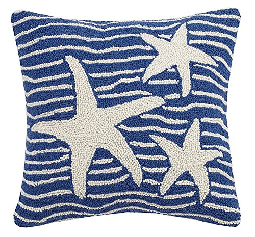 (Peking Handicraft Multi Wave Starfish Hook Pillow, Blue)