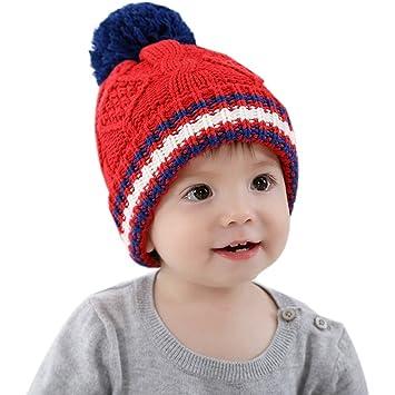 Frbelle® Bébé Bonnet en Tricot à Pompon Motif à Rayure pour Hiver Automne  Chaud Beanie 8f6d02ad4bf