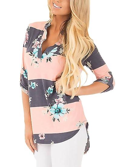 Mujer Camisas Estampadas De Flores Rayas Camisetas Elegantes Vintage Manga 3/4 V Fiesta Estilo Cuello Tops Blusas Primavera Otoño Moda Casual T Shirt ...