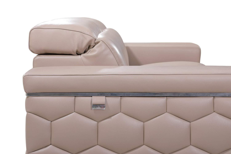 Blackjack Furniture 692-BEIGE-L Usry Italian Leather Upholstered Living Room Loveseat, Beige