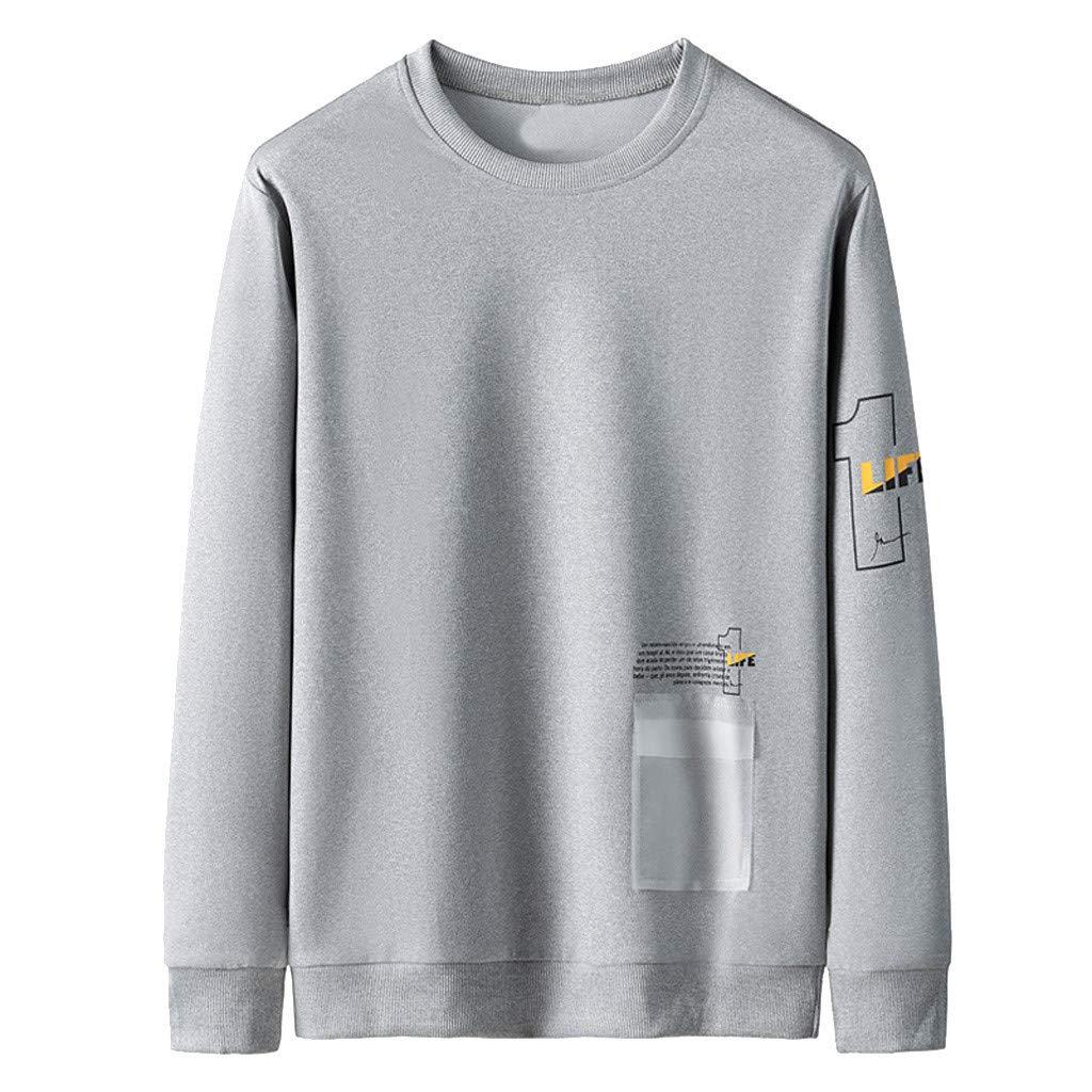 Badymin Men Warm Winter Long Sleeve Pullover Letter Sweatshirt Top Tee Outwear Blouse Gray by Badymin
