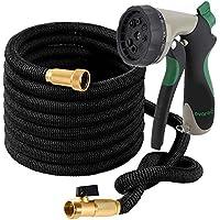 OVAREO Garden Hose 50 Feet + Heavy Duty Spray Nozzle with...