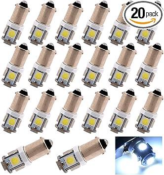 10Pcs 24V White 5SMD BA9S LED Bulb Car Side Licnese Door Plate Light W6W 182 257