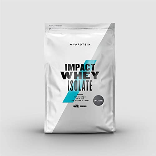 Myprotein Impact Whey Isolate Protein Powder, Gluten Free Protein Powder, Muscle Mass Protein Powder, Dietary Supplement for Weight Loss, GMO Soy Free, Whey Protein Powder, Unflavored, 5.5 Lbs