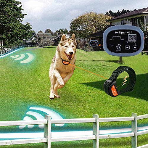 Dr.Tiger 2 Receiver Electric Dog Fence with Rechargeable Shock Collar, Wire In-Ground Invisible Dog or Cat Containment Fence System 01
