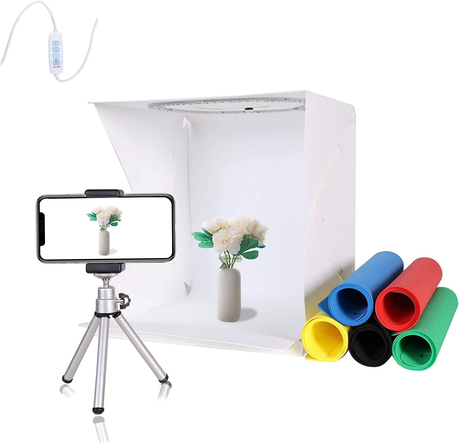 QYXINC Photo Studio Light Box with Mini Tripod,Ring Light Box with 128 LED,12.8inch Shooting Tent with 6 Color Photography Backdrop,Portable Folding Photo Studio Box with White Light Warm Light