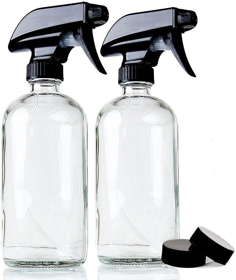 Felly Botellas de Spray, Vaporizador en Botella de Cristal Transparente Set 2x500 mL, pulverizador Fino Negro rellenable contenedor para aceites Esenciales, Limpieza, Cocina, jardín, Pelo
