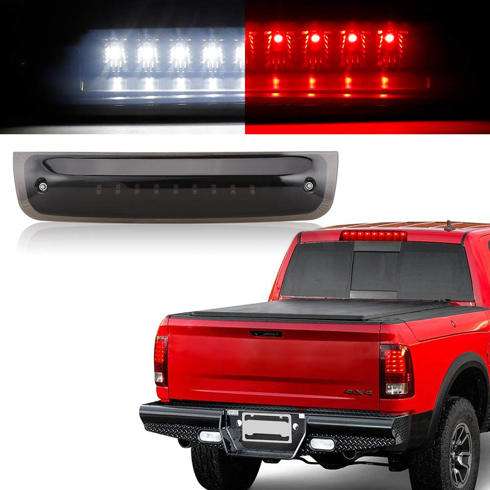 One Year Warranty SUPAREE Smoked Third Brake Light Replacement for 2009-2017 Dodge Ram 1500 2010-2017 Dodge Ram 2500 3500 Red//White Light with Smoke Lens Black Housing Waterproof