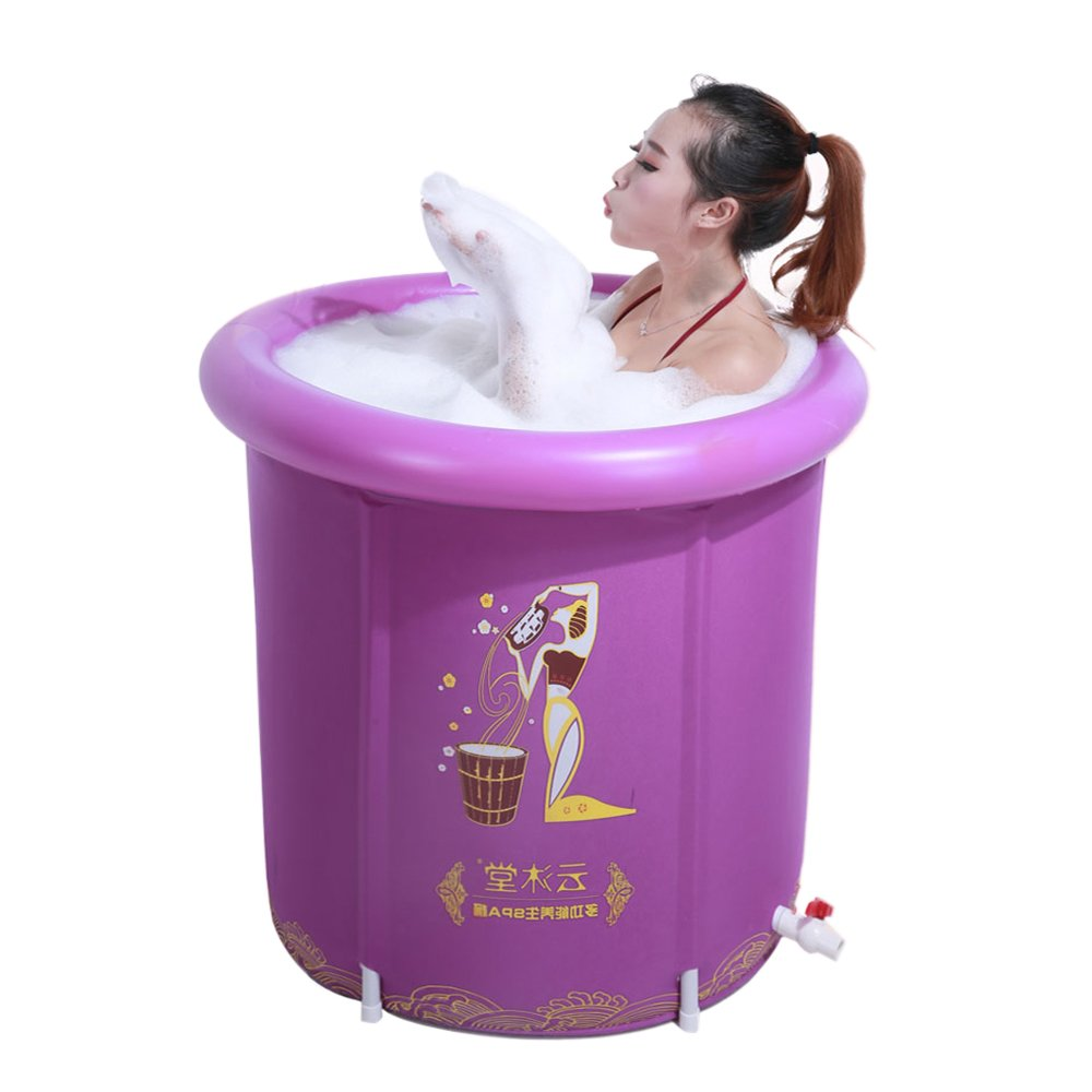 PM YuGang Foldable Inflatable Thick Warm Adults Bathtub,(Purple 7570cm)