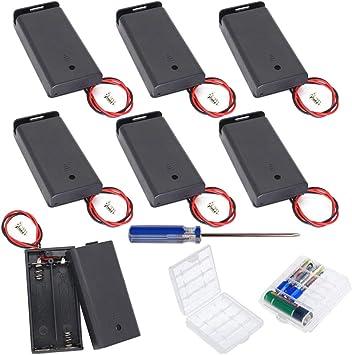 GTIWUNG 9Pcs AA 3V batería Titular Caso Caja de Almacenamiento de la batería de plástico con Interruptor ON/Off, DIY 2 × AA Caja de Pila Doble, Portapilas con Cables de Interruptor: Amazon.es: