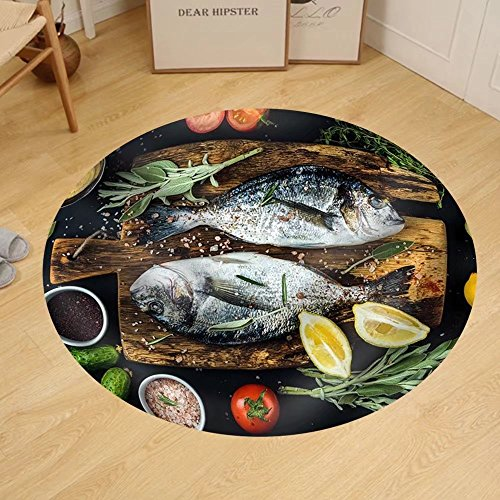 Gzhihine Custom round floor mat Fresh Uncooked Dorado or Sea Bream Fish with Lemon Herbs Oil Vegetables and Spices