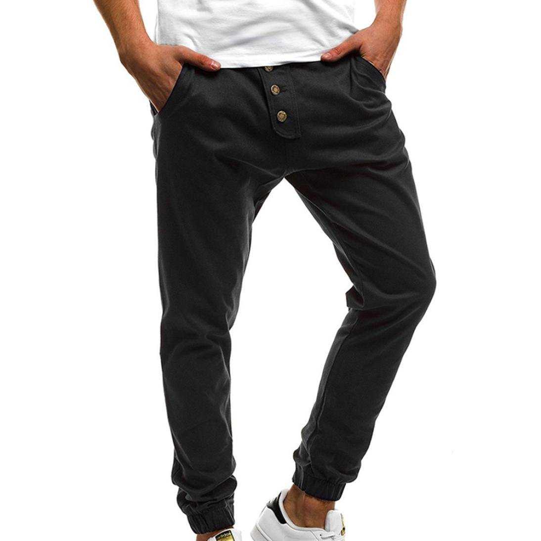 PASATO Fashion Men's Sport Pure Color Button Casual Loose Sweatpants Drawstring Pant(Black, XL)