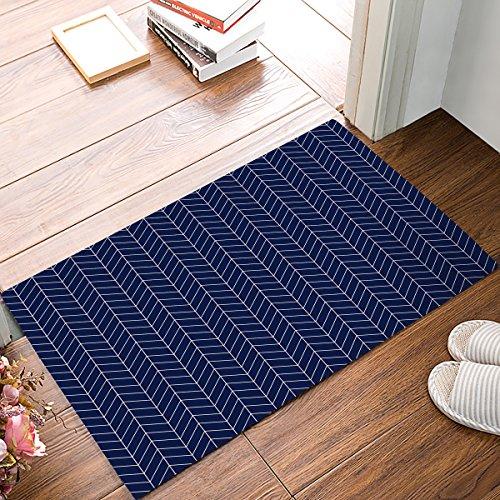 FunkyHome Navy Blue Stripe Herringbone Pattern Custom Door Mat, Indoor Outdoor Non-slip Rubber Entrance Rugs for Bathroom/Front, 20x31.5inch