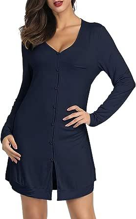 Zexxxy Women Cotton Button Front Sleepwear Shirts Nightgown Soft Long Sleeve Nightshirt Loungewear XS-XL