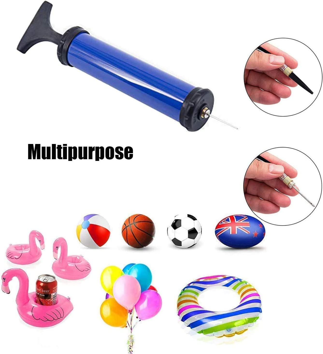 Oziral Hand Air Ball Pump Kit Portable Inflation Balloons Pump with 8 Pcs Needles and 2 Pcs Valve Adapter 1 Pcs Air Hose for Football Basketball Volleyball Rugby 8 inch