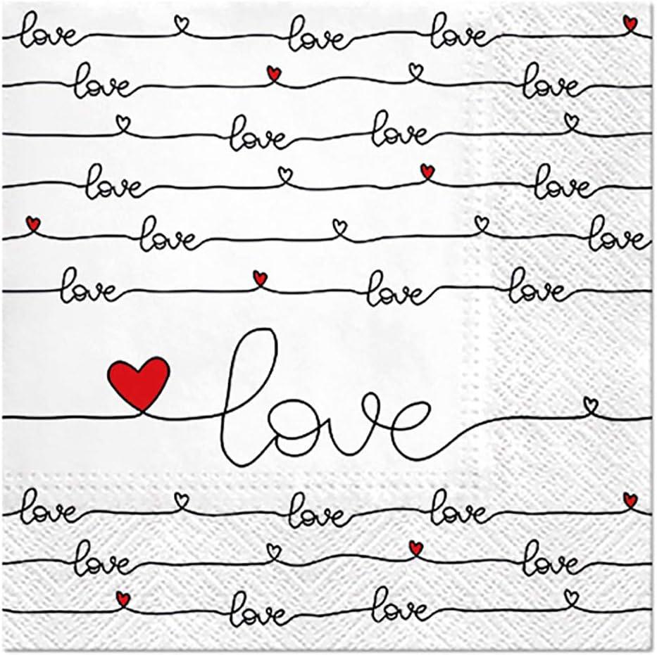 Pack of 20 Quality 3-Ply Love Wedding Celebration White Paper Napkins Serviettes 33cm x 33cm