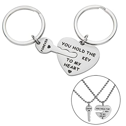 385ad1ae16 Couple Keychains Set Necklace Gift for Wife Husband Boyfriend Girlfriend  Him Her You Hold The Key