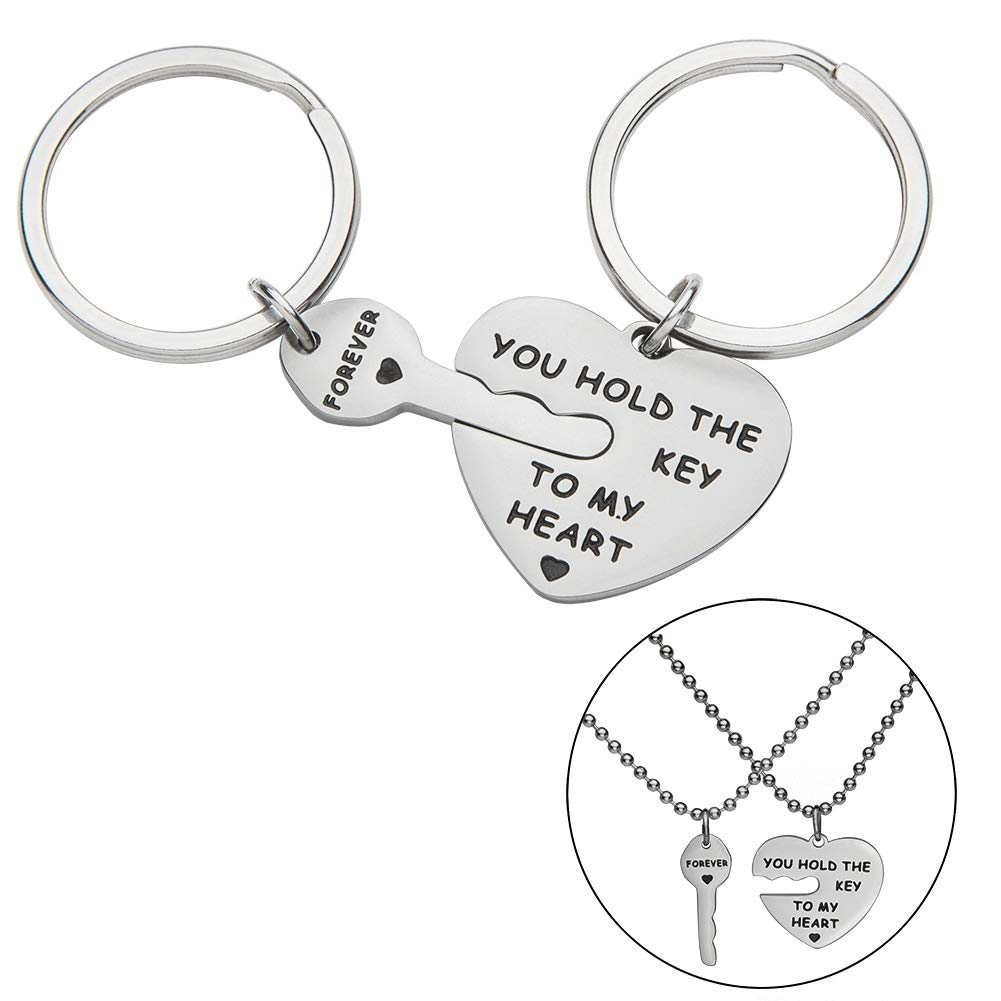 Couple Keychains Set Necklace Gift for Wife Husband Boyfriend Girlfriend Him Her You Hold The Key to My Heart Forever Anniversary Wedding Valentine Birthday Jewelry Key Ring Charm Gift (2pcs)