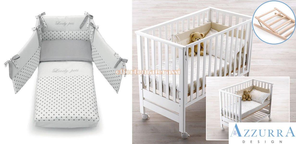 Kinderbett Azzurra Design Contact weiß Netz antirigurgito + Set Textil grau